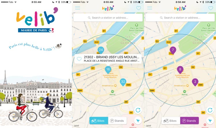 These screenshot show the Velib app opening page on the left, the app showing bikes available in the middle, and the app showing stands available on the right