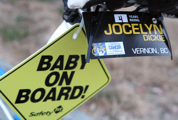 Jocelyn Dickie was four-and-a-half months pregnant when she rode the Ride to Conquer Cancer last year!