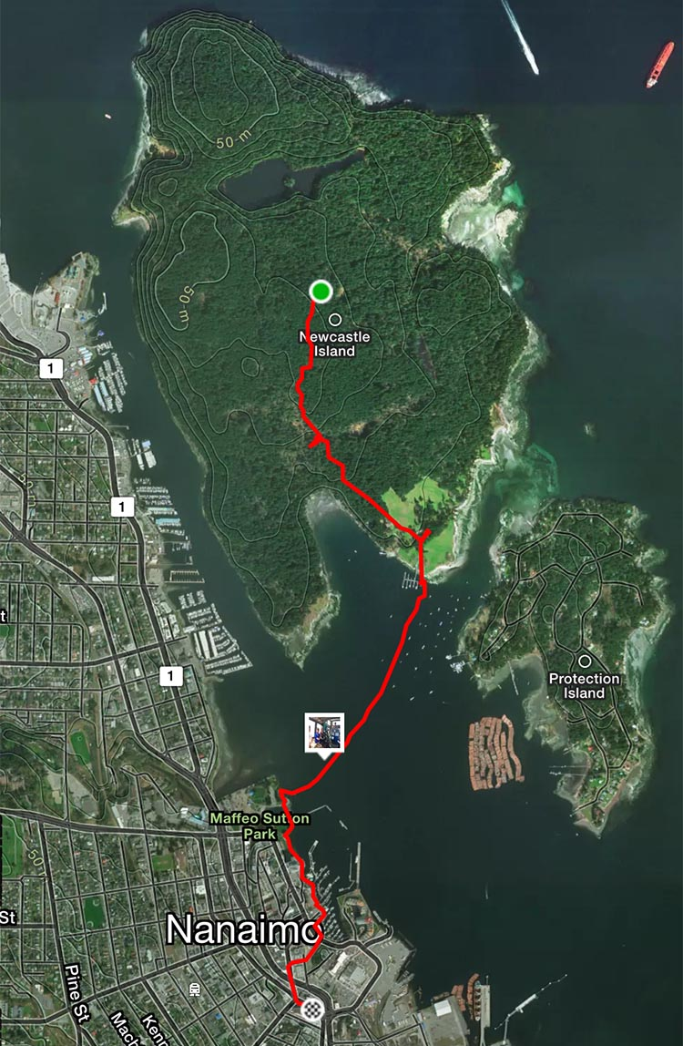 This map shows the ferry route, plus some of the route we cycled