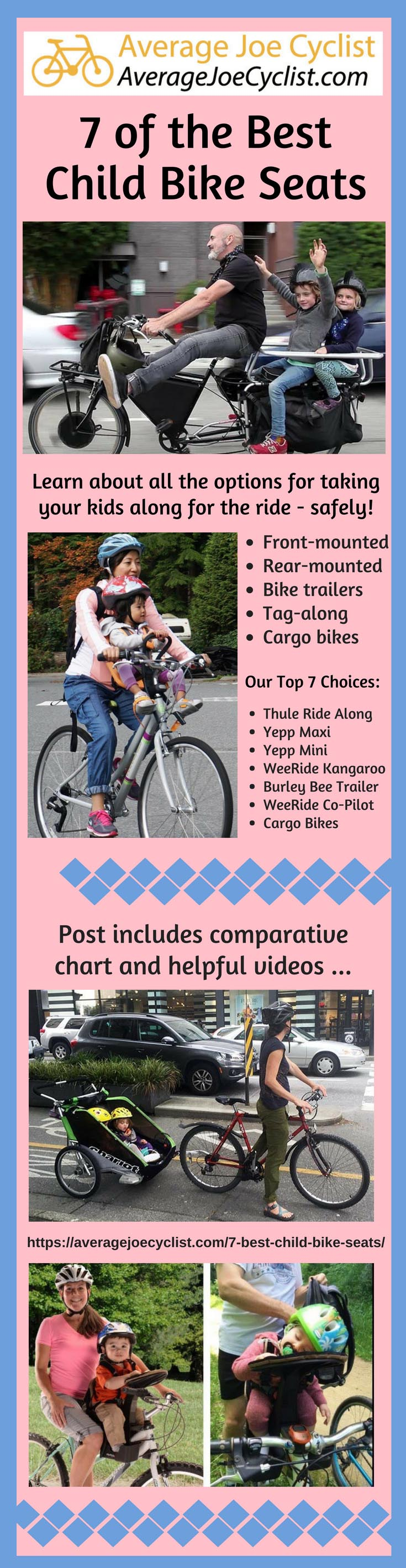 7 of the Best & Safest Baby & Child Bike Seats, with Reviews and Videos - 2019. Post includes a handy comparison chart so you can quickly choose the best bike seat for your child. There are also several videos to help you decide. This post with comparisons and reviews will help you to choose the ideal bike seat for the needs of your family. #AverageJoeCyclist #cycling #cyclists #kids