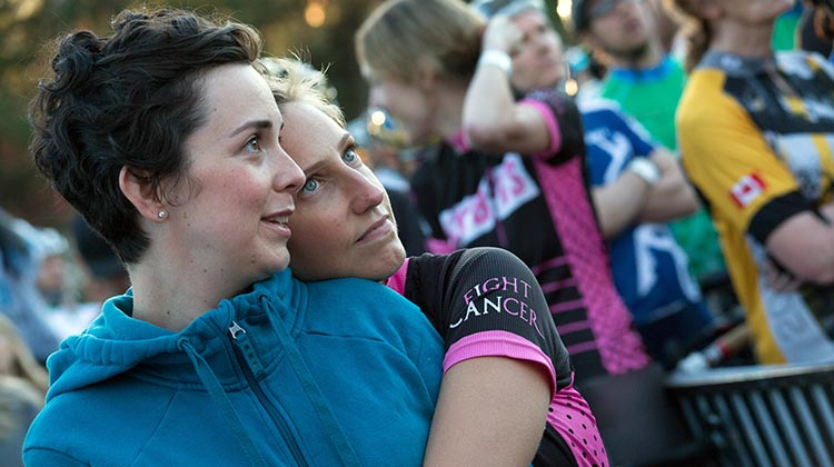 """Sarah Roth, President and CEO of the BC Cancer Foundation: """"Whether you're crossing the finish line this weekend or cheering on a loved one, know we are all on the same team, pedaling closer to a world free from cancer."""""""
