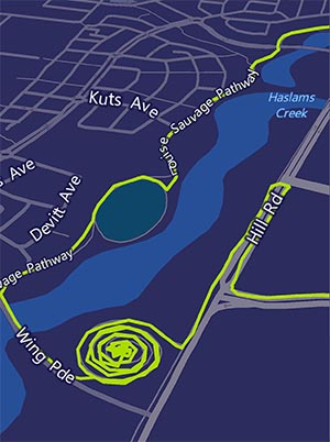 Sydney Olympic Park, Australia. Map of one spiral mountain in Sydney Olympic Park