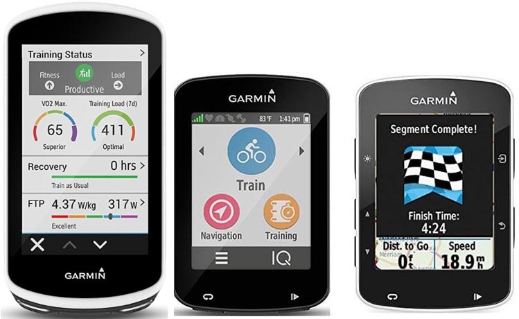 Garmin Edge 1030 vs 820 vs 520 GPS bike computers - which one is right for you? In the graphic above, left to right, are the Garmin Edge 1030, Edge 820, and Edge 520