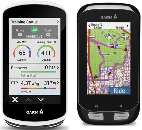 Garmin Edge 1030 on the left; Garmin Edge 1000 on the right