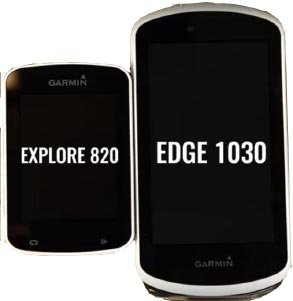 This picture shows the size difference between the Garmin Edge 1030 and 820