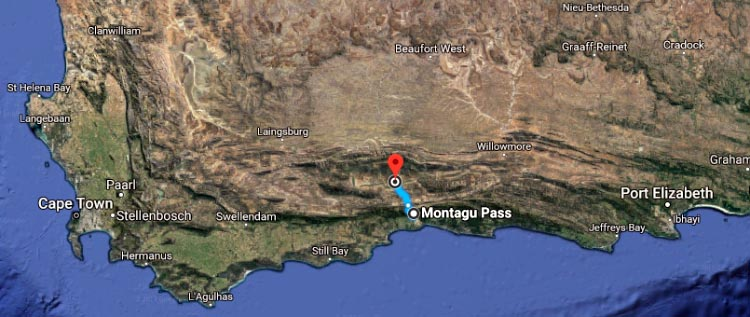 This map shows the 60 kilometer (37 mile) Oudtshoorn to Montagu bike ride that is described in this post