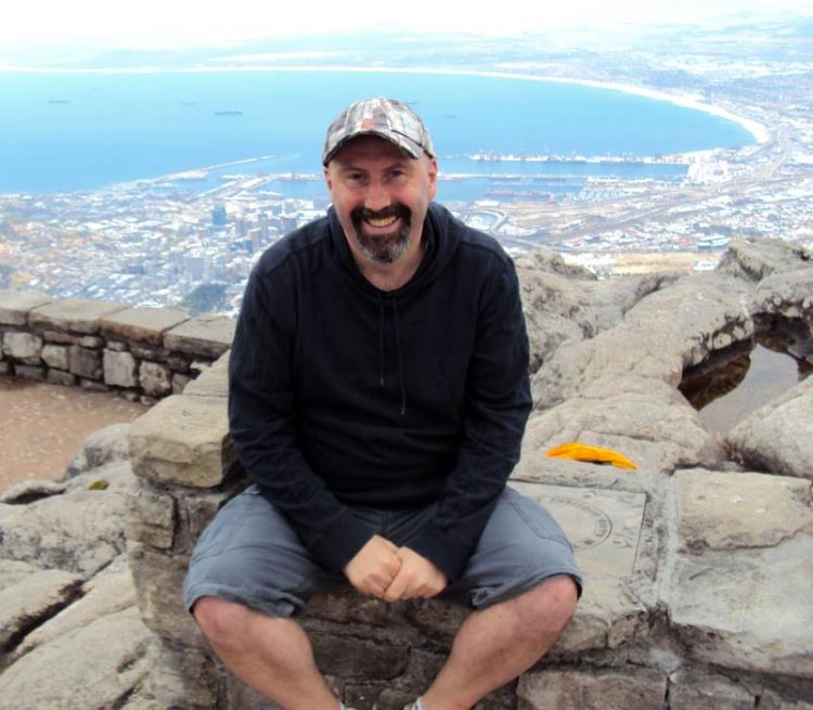 Guest poster Pete Martin, photographed above Cape Town, South Africa
