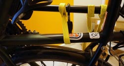 Each bike is individually secured with its own strap