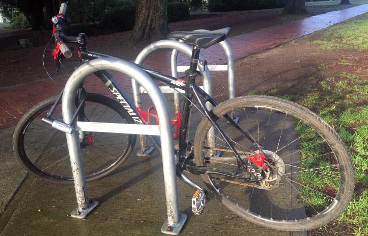 How to Protect Your Bike from Being Stolen. This is a good quality bike, locked with a stout D lock to a solid arch. But there is only one lock, the lock is not attached to the lower frame, and the bike is in a relatively lonely spot in a park. An experienced bike thief would be thrilled to see this bike!
