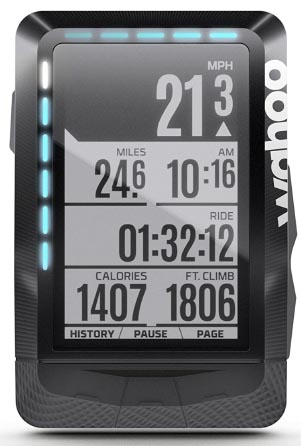 Garmin Edge 520 vs. Wahoo ELEMNT. In this picture you can clearly see the two rows of LEDS on the Wahoo ELEMNT. Also, note how crisp the screen is
