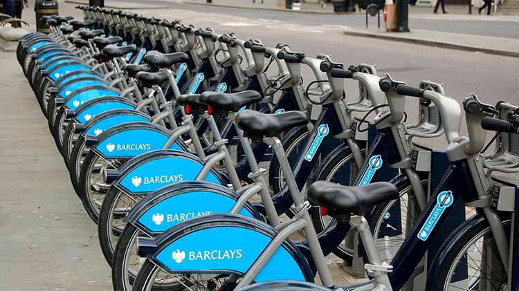 Barclays London Bike Commuters are Happier and More Productive. Bike Share bikes in London