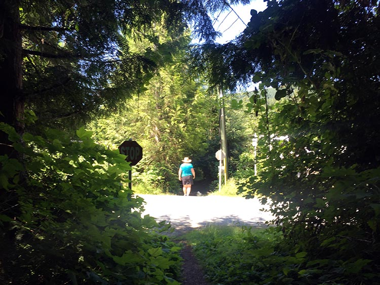 Cycling near Buntzen Lake, British Columbia, Canada. There is one spot where the Academy Trail crosses a service road. There is a Stop sign there to warn you