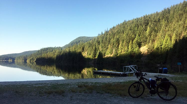 Cycling near Buntzen Lake, British Columbia, Canada. Our bikes were completely safe on this almost deserted beach
