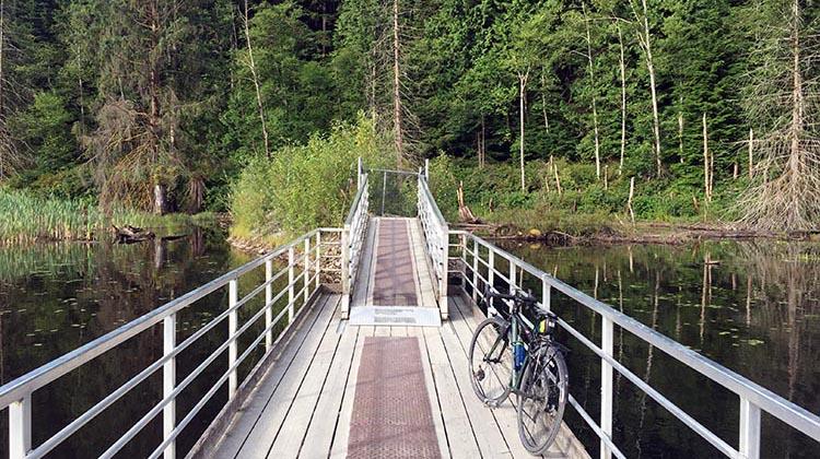 Cycling near Buntzen Lake, British Columbia, Canada.