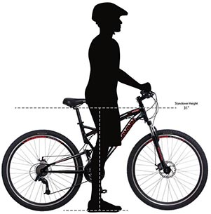 """Schwinn S29 Full Suspension Mountain Bike Review. The Schwinn S29 mountain bike has a stand-over height of 31 inches, making it suitable for riders over 5'8"""""""