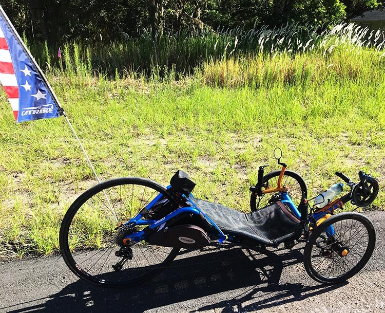 7 Tips for New Recumbent Trike Riders. Here's another photo of my recumbent trike! Notice that I always have a flag flying, to make myself more visible