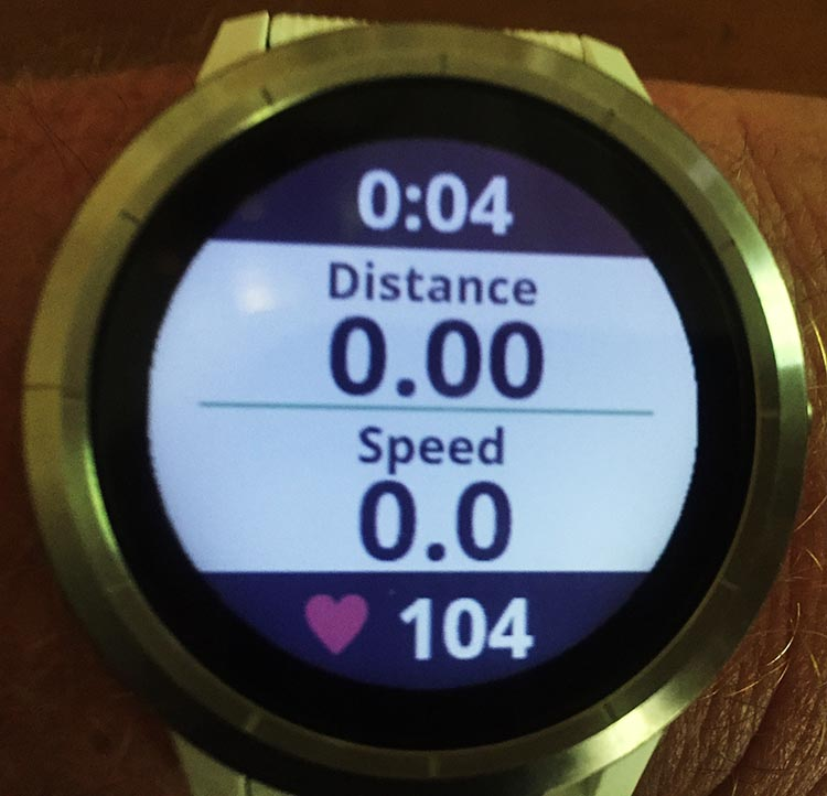How to Record a Bike Ride with Your Garmin Vivoactive 3. I always check that the timer has started (the 0:04 at the top of the display), so I can be certain that the recording of my bike ride has started