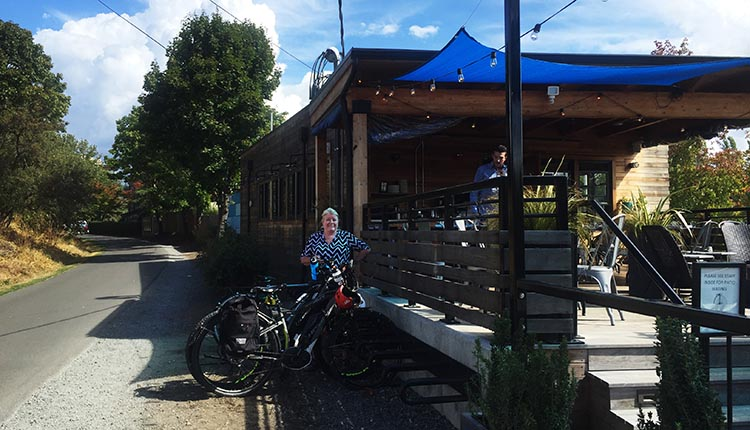 Maggie with our bikes outside Fremont Brewing. There is bike parking right next to the tables, which is very convenient. Fremont Brewing is situated right next to the Burke-Gilman Trail