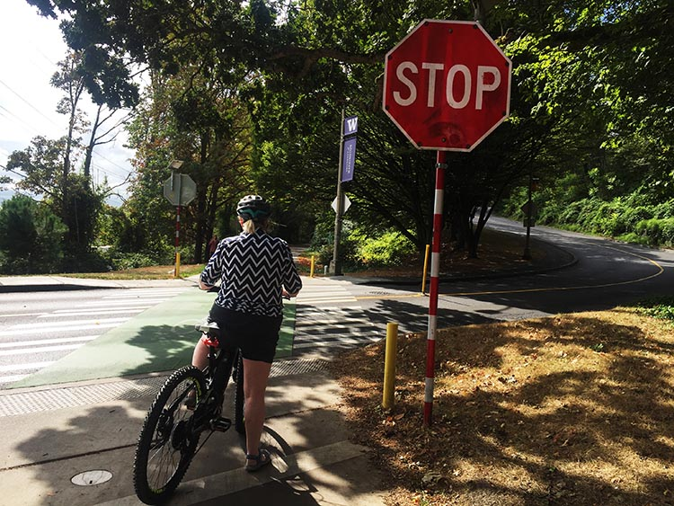 Maggie at a road crossing on the Burke-Gilman Trail. This particular Stop sign is one of the ones that does this cool flashing thing as you approach