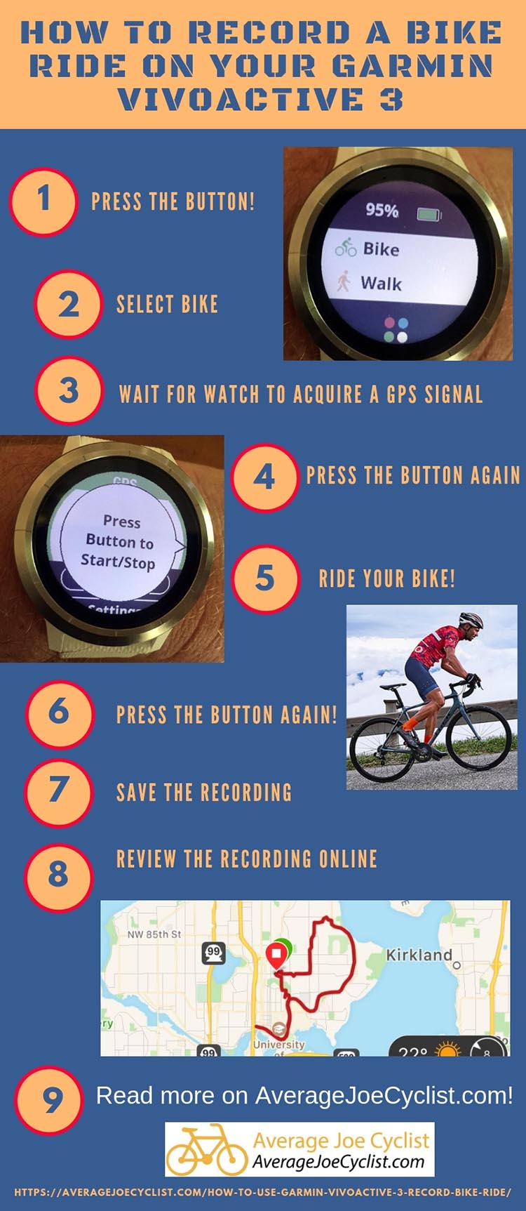 How to record a bike ride with a Garmin Vivoactive 3