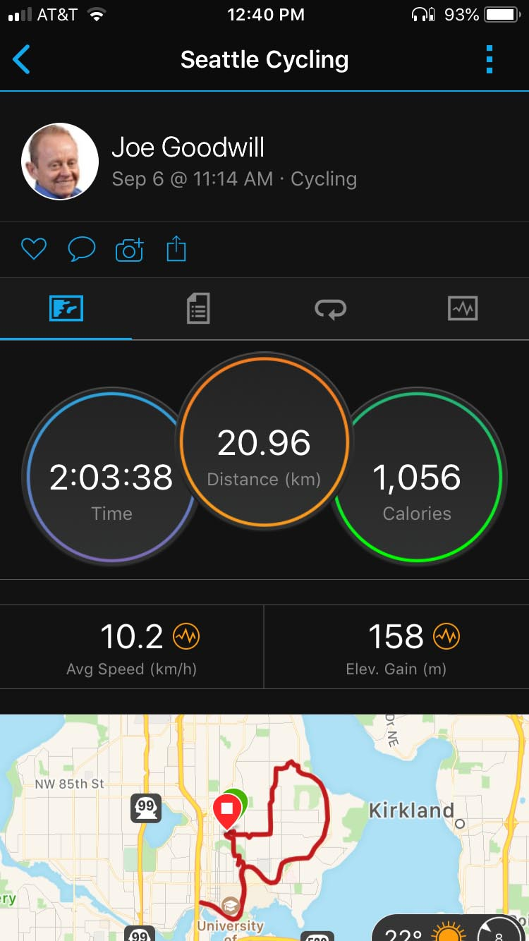 Overview of a recent bike ride as it displays in the Garmin Connect app on my smart phone