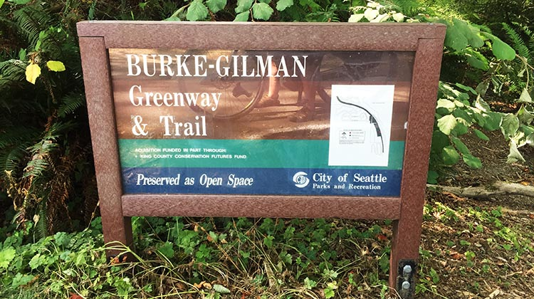 There are all kinds of signs on the Burke-Gilman Trail, including directional signs, and informational signs