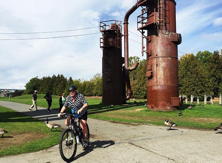 Here's Maggie riding through Gas Works Park, next to Lake Union.
