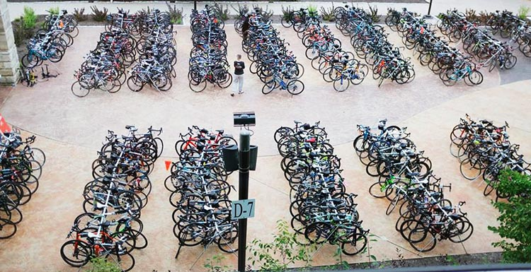 Hundreds of bikes, ready to be ridden 275 miles from Boston to New York in the 2018 Cycle for the Cause. Photograph by Inspired Storytellers