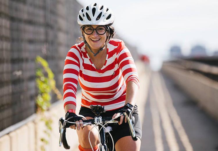There are a whole lot of ways to wear red! Photograph by Inspired Storytellers. Cycle for the Cause 2018 and 2019