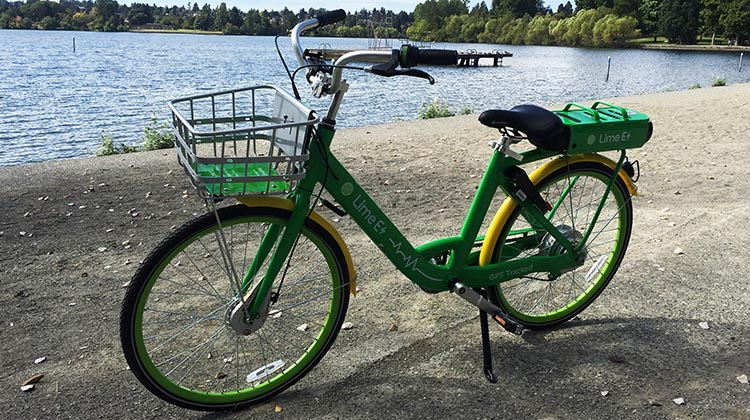 Lime Bikes and Scooters for Shared Transport Options. Here is a Lime bike at Green Lake, Seattle