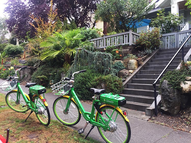 Lime Bikes and Scooters for Shared Transport Options. Getting home exhausted, it sure was nice being able to park the Lime bikes right outside our house. All that was left to do was trudge up the steps and collapse!