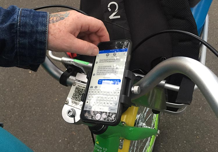 Lime Bikes and Scooters for Shared Transport Options. A nice feature is that you can attach your smart phone to your handlebars. This is especially useful if you are using Google Maps to navigate