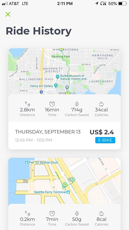 Lime Bikes and Scooters for Shared Transport Options. You can see details of your ride on the app after you park the Lime bike