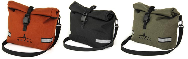 The Arkel Handlebar Bag comes in three different colors: copper, black, and olive