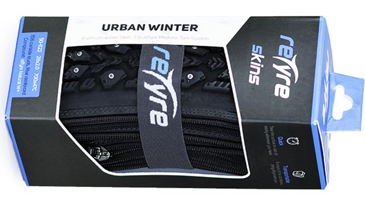 Introducing reTyre – Skins for Bike Tires! Enter to win a set. reTyre Urban Winter skins are studded winter skins