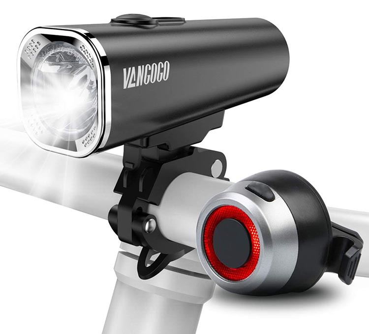 Vangogo Bike Light Set Review. Here is a stock photo that shows the front light and the tail light included in the Vangogo bike light set