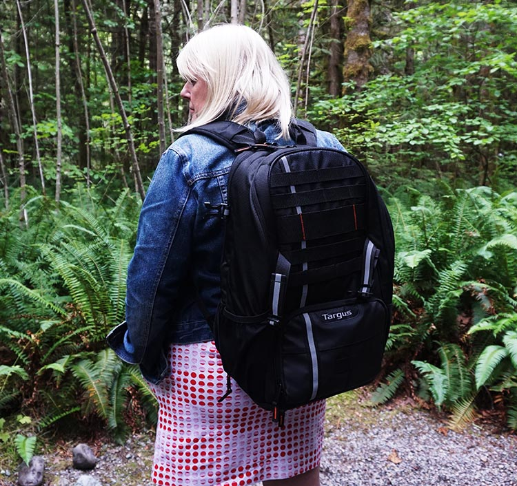 Here's Maggie wearing the Targus Work + Play Cycling Backpack