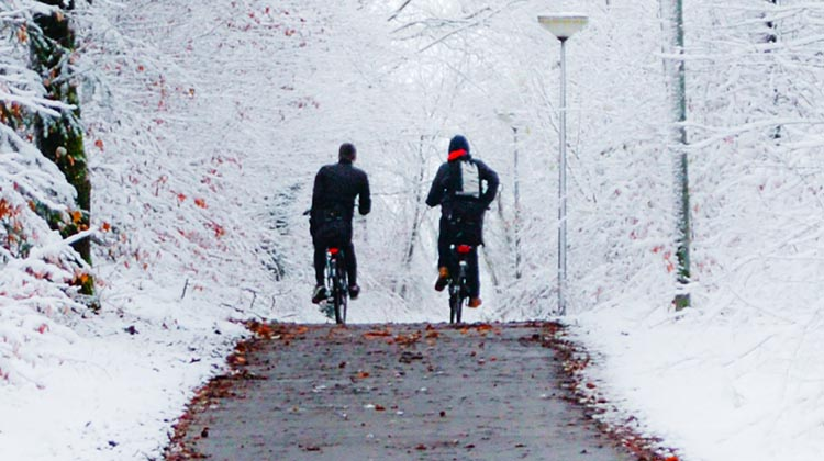Once you are warm and dry you can enjoy the beauty of winter cycling