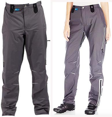 The Showers Pass Refuge Cycling Pants have tons of great features, which more than make up for the rather dull grey color. The men's pants are on the left, and the women's pants are on the right