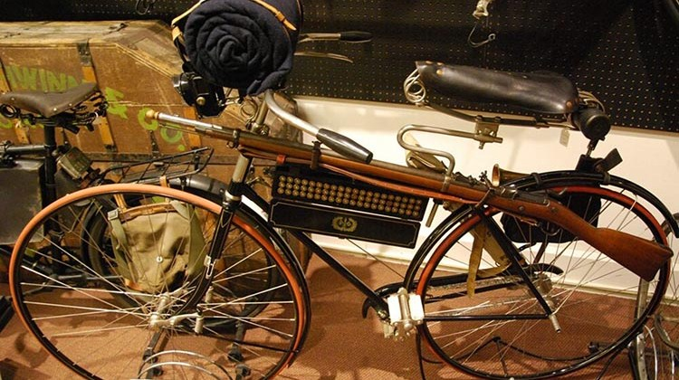 A 1891 Columba Light Roadster Safety, which was made in American. In 1891 it was regarded as state-of-the-art bike because it had a rear brake, no seat tube, and cushioned tires. This bike was modified to hold a rifle and ammunition case so that it could be used by American soldiers (Photo: Peter Suciu, Bicycle Museum of America)