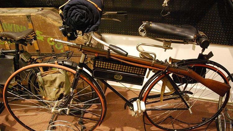 A 1891 Columba Light Roadster Safety, which was made in America. In 1891 it was regarded as state-of-the-art bike because it had a rear brake, no seat tube, and cushioned tires. This bike was modified to hold a rifle and ammunition case so that it could be used by American soldiers (Photo: Peter Suciu, Bicycle Museum of America)