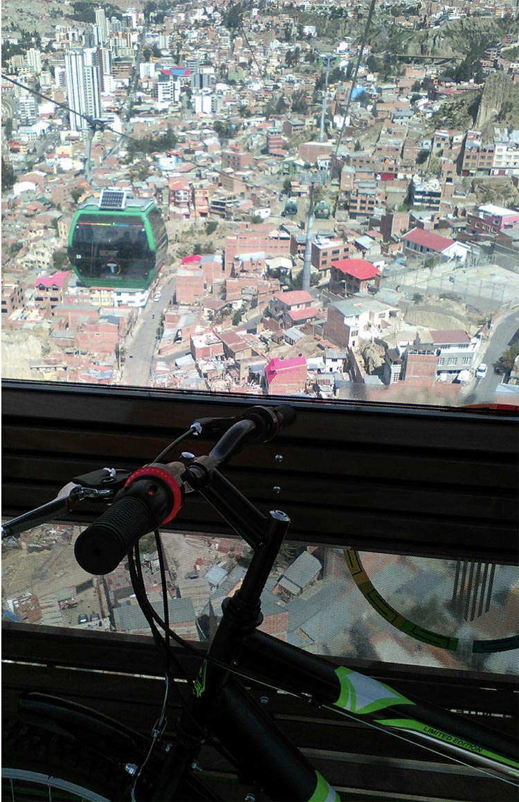 Cycling and the Post-Covid Transformation. Author's bike in La Paz cable car