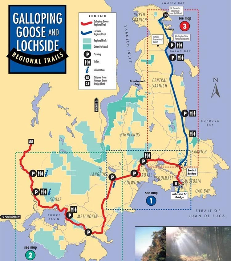 Vancouver Island Cycling - Great Bike Rides in and Near Vancouver, Canada. This is a map of the Galloping Goose Trail (red - see below) and the Lochside Trail (blue).