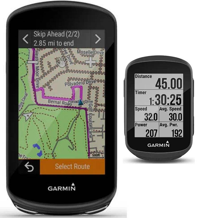 Garmin Edge 1030 Plus (left) vs Garmin Edge 130 Plus (on the right)