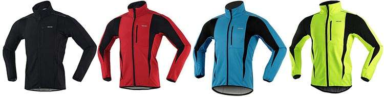 Arsuxeo Winter Warm Up Thermal Softshell Cycling Jacket is available in a range of colors, from classic black to bright red