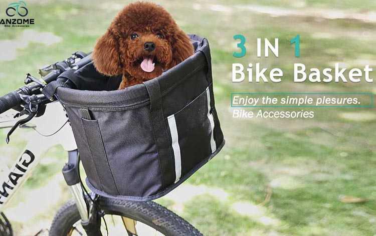 Best Dog Bike Baskets. No. 2: Anzome Budget 3-in-1 Pet Bike Basket
