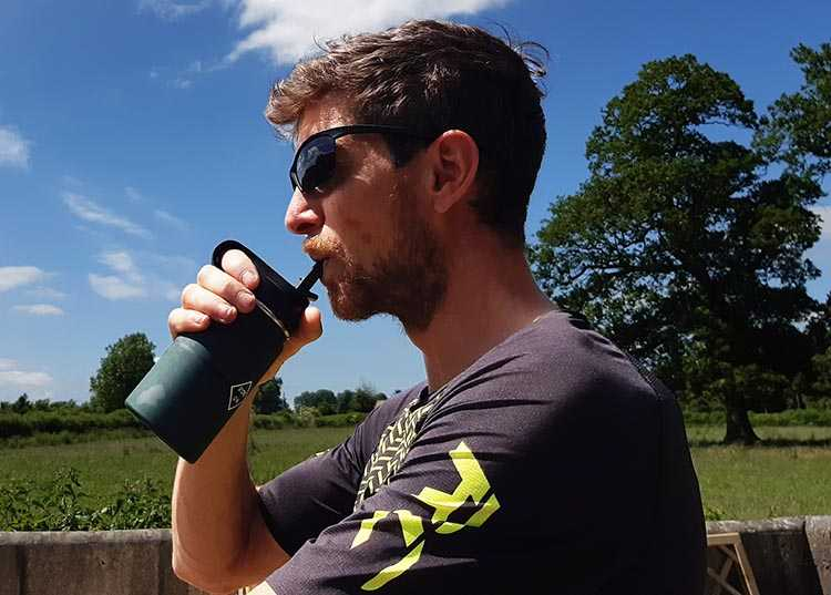 The cycling flask is designed to be easy to sip from, one-handed