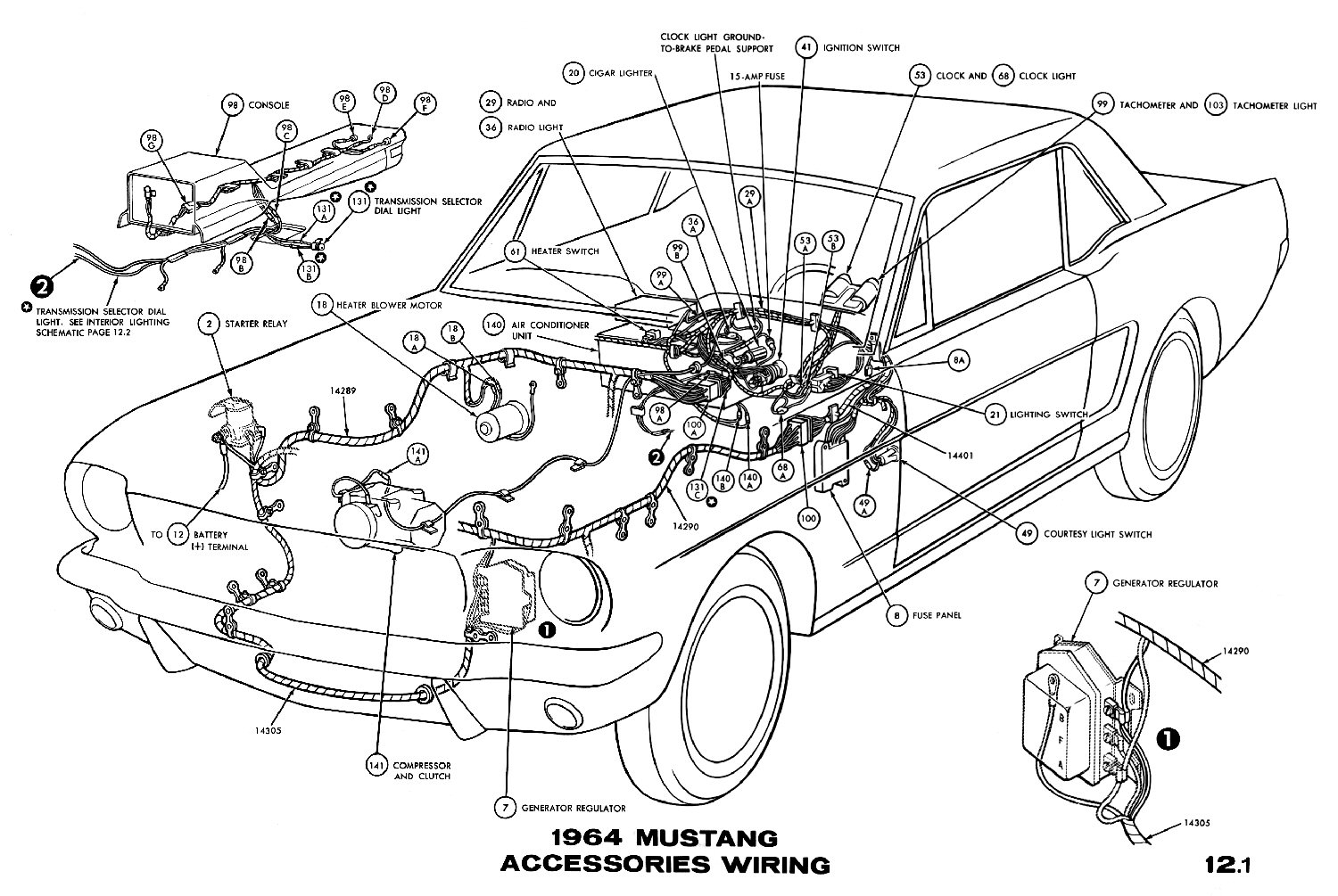 Diagram Likewise Mustang Under Dash Light Locations
