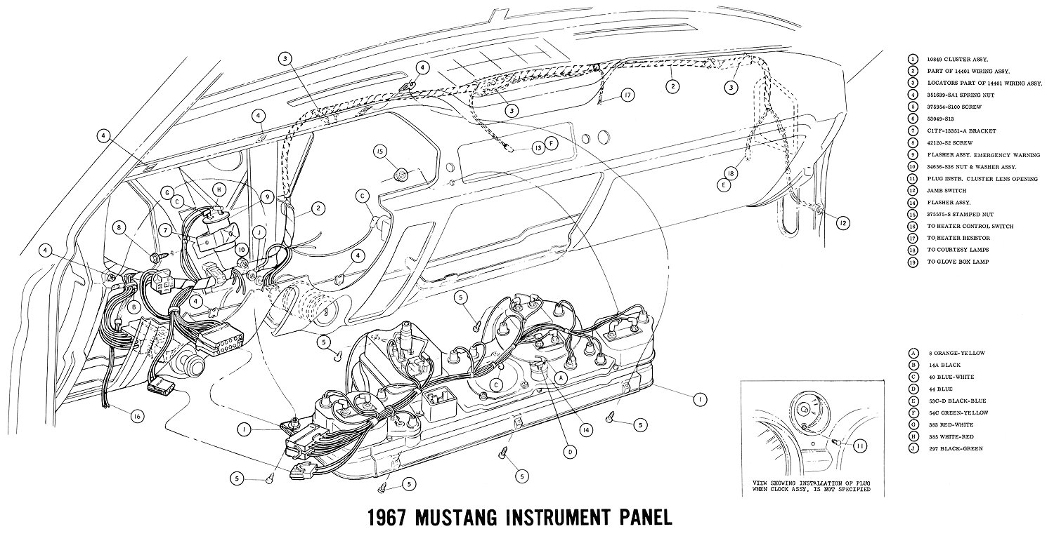1967 mustang wiring and vacuum diagrams average joe restoration 1967 mustang console wiring diagram 1967 mustang cluster wiring schematic