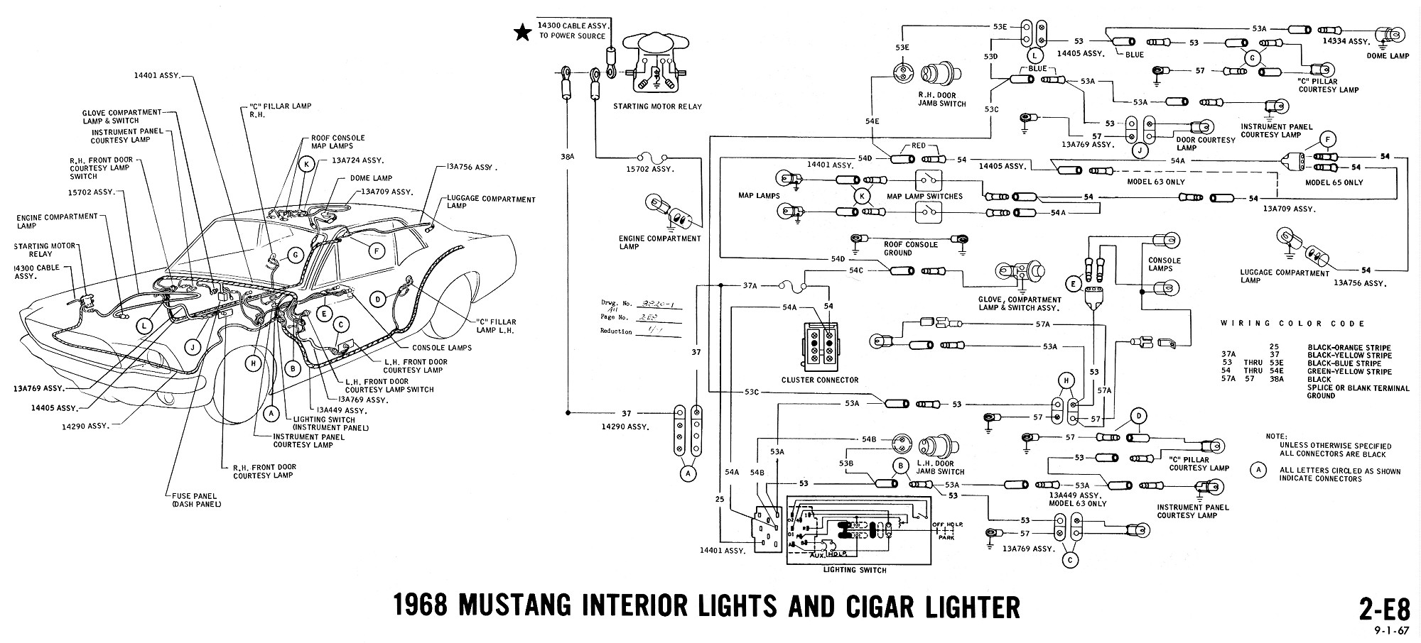 c228a 68 mustang fuse box